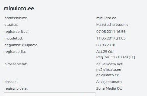 Whois domeen minuloto.ee on registreeritud 07.06.2011 ja selle omanik ALL25 OÜ Reg. no. 11710029